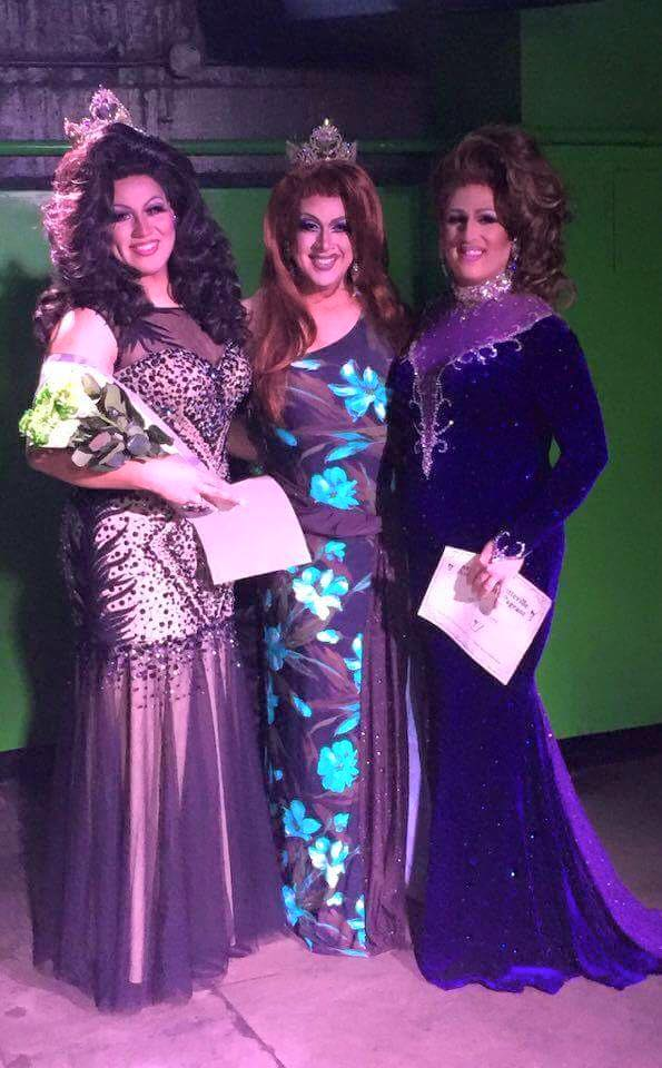 Cassandra Rae Reality (Miss Gay Fayetteville America 2016), Eden Alive (Miss Gay Arkansas America 2015) and Ashleigh Jordyn (1st Alternate to Miss Gay Fayetteville America 2016) at the Miss Gay Fayetteville America 2016 pageant at C4 Nightclub & Lounge in Fayetteville, Arkansas on the night of July 17th, 2016.