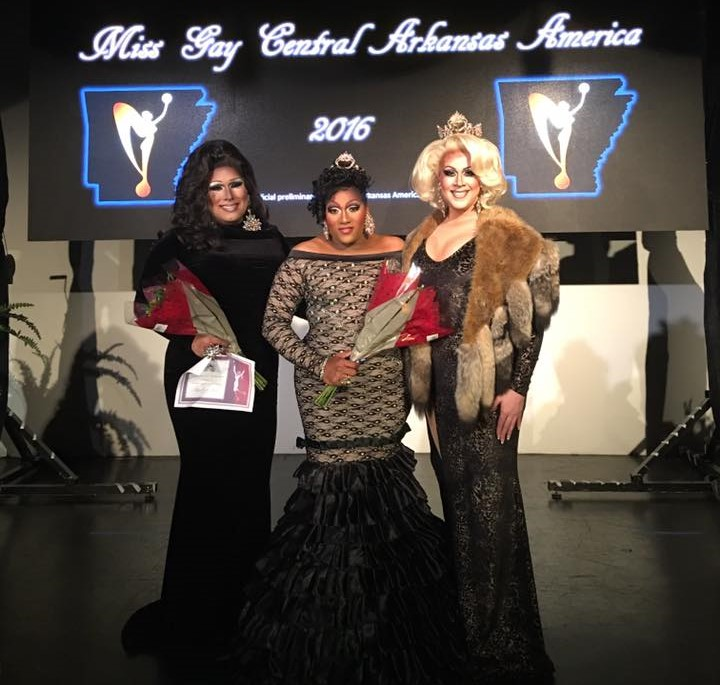 Nicki Savage (1st Alternate to Miss Gay Central Arkansas America 2016), Charnay Malletti Cassadine (Miss Gay Central Arkansas America 2016) and Eden Alive (Miss Gay Arkansas America 2015) at the Miss Gay Central Arkansas America 2016 contest at Discovery Night Club in Little Rock, Arkansas on the night of August 13th, 2016.