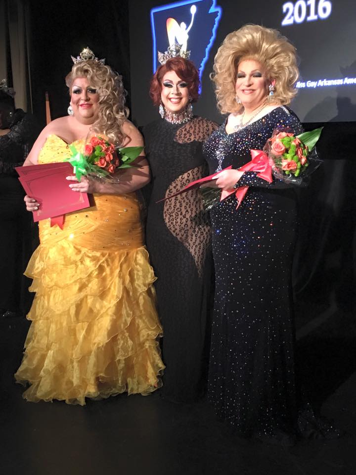 GiGi Galore (newly crowned Miss Gay Southern Arkansas America 2016), Eden Alive (Miss Gay Arkansas America 2015) and Diedra Windsor Walker (1st Alternate to Miss Gay Southern Arkansas America 2016) at the Miss Gay Southern Arkansas America 2016 pageant at the Discovery Night Club in Little Rock, Arkansas on August 20th, 2016.