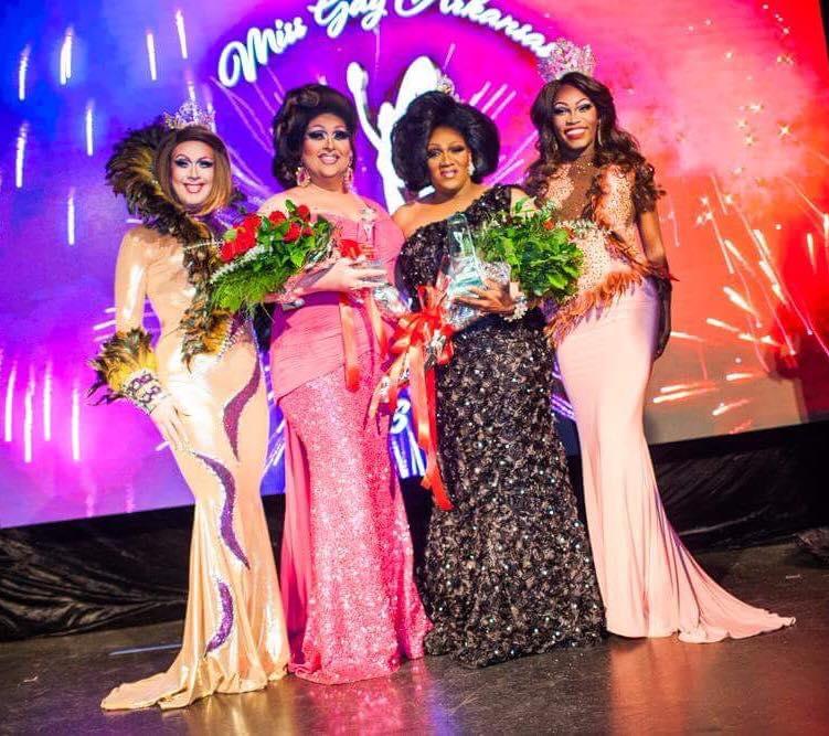 Eden Alive (Miss Gay Arkansas America 2015), M'Shay Victoria Foster (1st Alternate to Miss Gay Arkansas America 2016), Charnay Malletti Cassadine (Miss Gay Arkansas America) and Asia O'Hara (Miss Gay America 2016) at Discovery Nightclub in Little Rock, Arkansas on the night of September 10th, 2016.