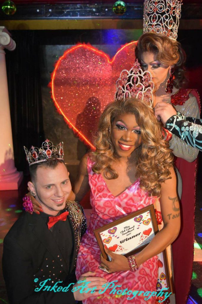 Cory Caleb Chanel Iman (Mr. Cabaret Sweetheart 2017) supports his queen Jasmine Summers (Miss Cabaret Sweetheart 2017) as she is crowned at Club Cabaret in Hickory, North Carolina. Photo by Inked Art Photography.