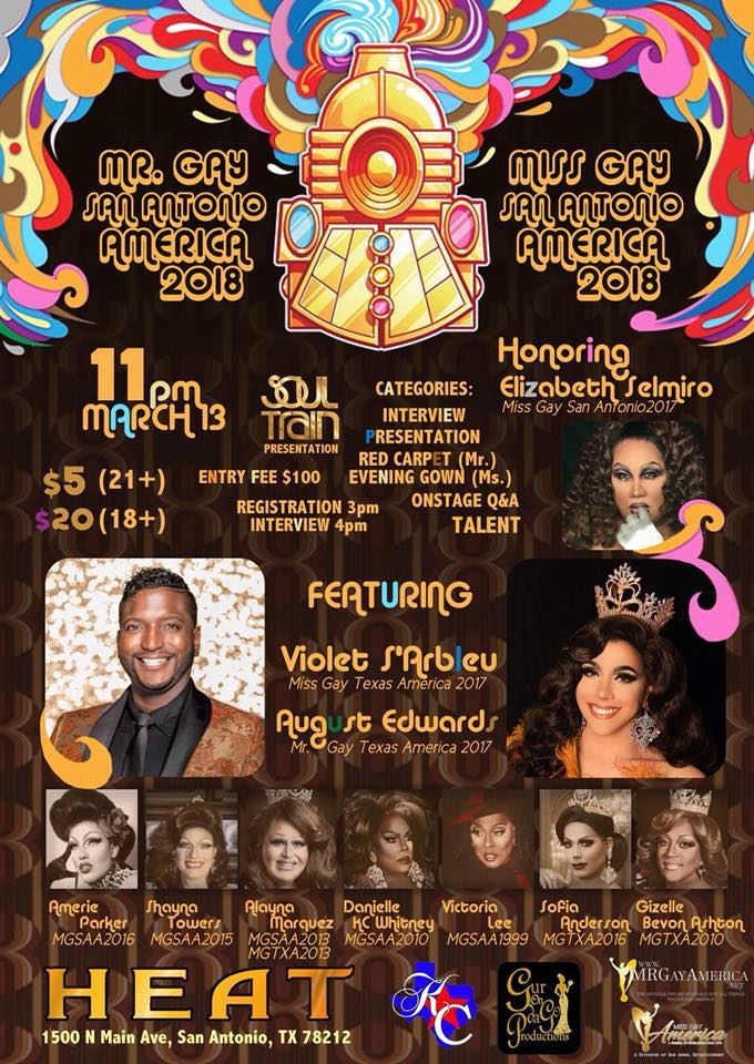 Show Ad | Mr. Gay San Antonio America and Miss Gay San Antonio America | Heat (San Antonio, Texas) | 3/13/2018