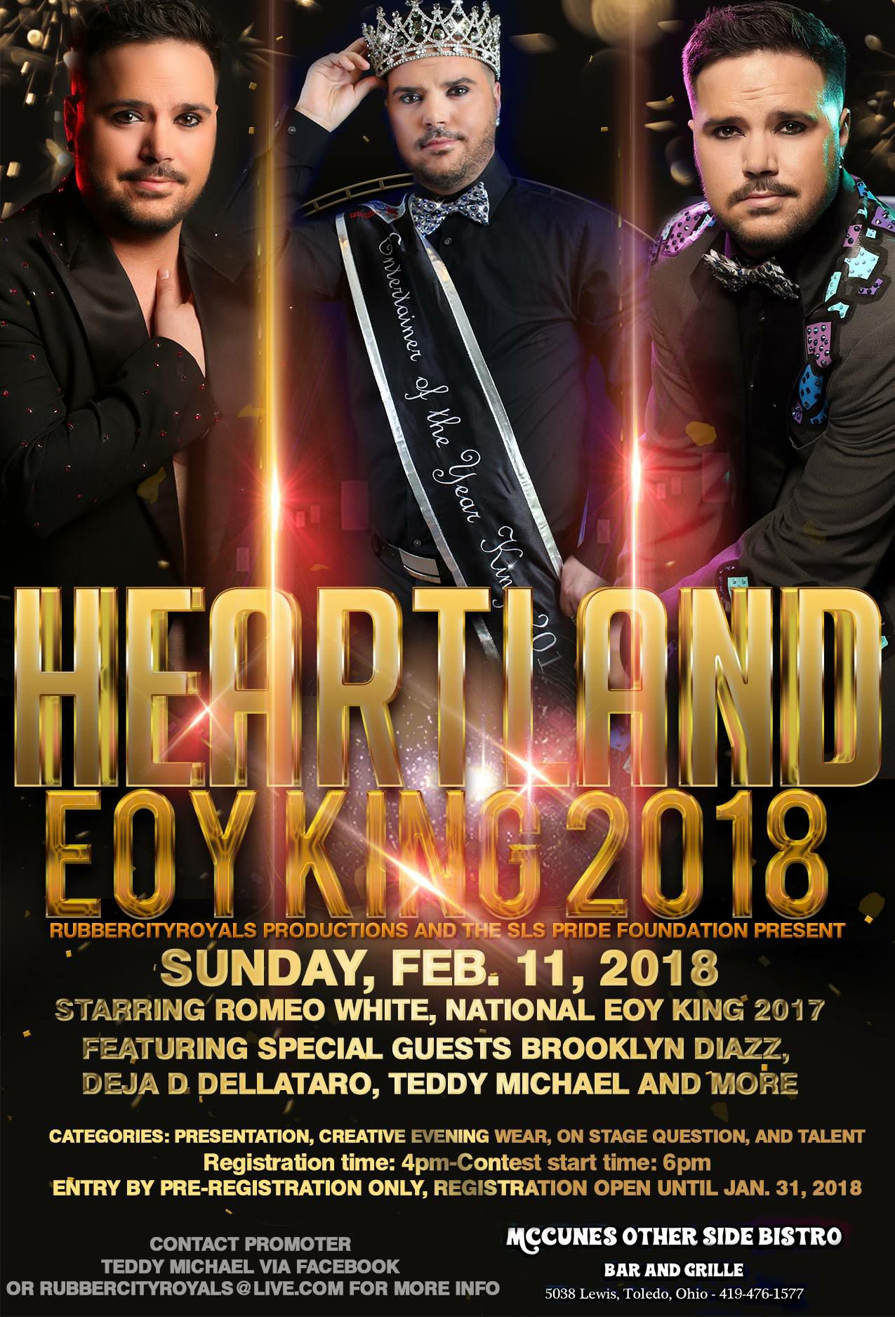 Show Ad | Heartland Entertainer of the Year King | McCunes Other Side Bistro Bar and Grille (Toledo, Ohio) | 2/11/2018
