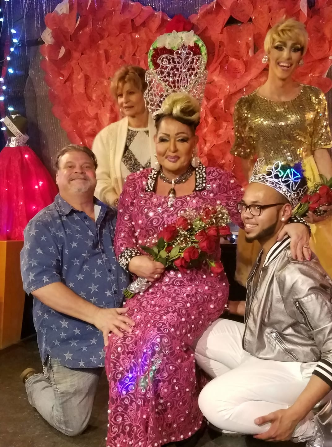 Coco Kane shortly after being crowned the very first Miss Southbend Classic at Southbend Tavern in Columbus, Ohio on the evening of February 25th, 2018. Back row is Miss Connie (Bar Owner) and Jennifer Lynn Ali (Miss Southbend 2018). In front row is Gerard Jones, Coco Kane (Miss Southbend Classic 2018) and Isaac Ismael (Mr. Southbend 2017).