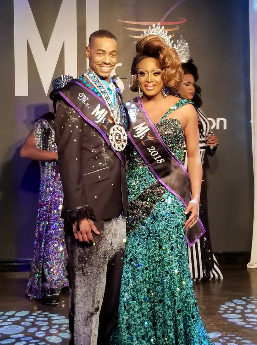 Shampaine Austen Lee and Leah Halston shortly after their respective wins as Mr. and Miss MJ's 2018 at MJ's on Jefferson in Dayton, Ohio on the night of February 24th, 2018.