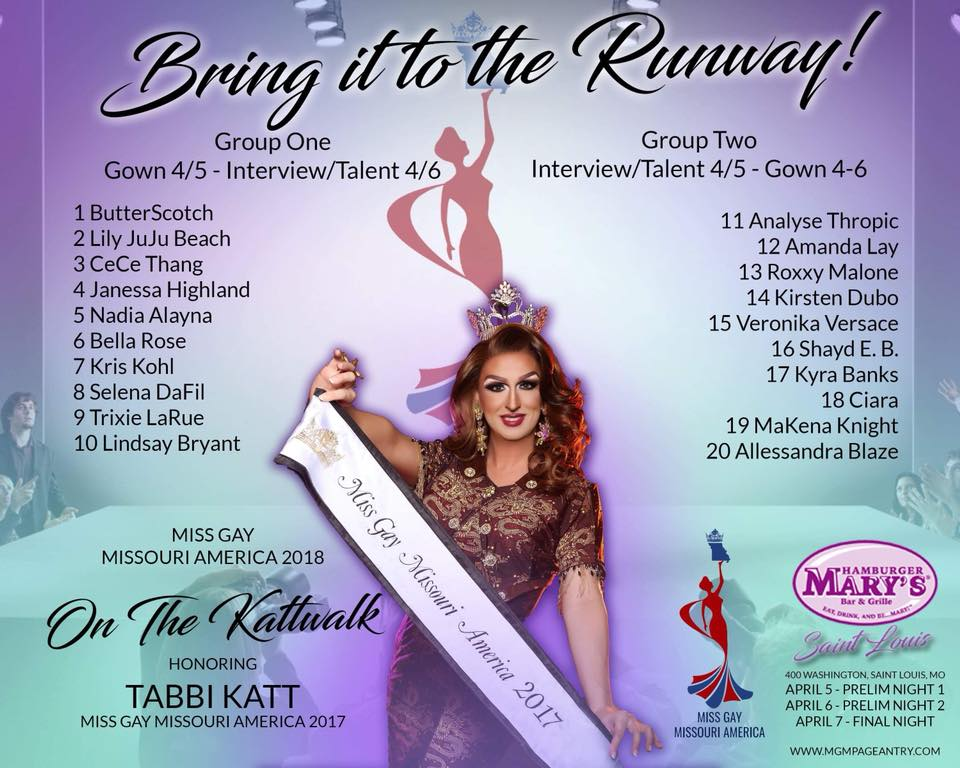 Qualified Contestants | Miss Gay Missouri America | Hamburger Mary's (St. Louis, Missouri) | 3/5-3/7/2018