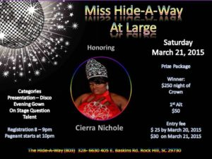 Show Ad | Miss Hide-A-Way at Large | The Hideaway (Rock Hill, South Carolina) | 3/21/2015