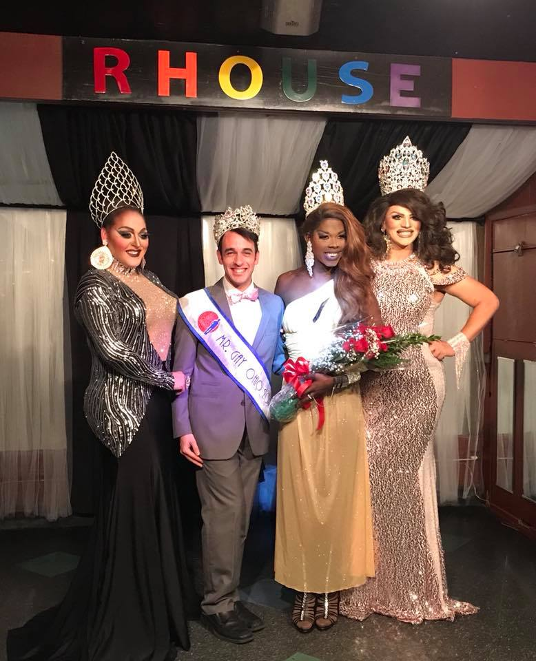 Miss Gay Toledo Ohio 2018 pageant held at R House (Toledo, Ohio) on the night of November 18th, 2017. Pictured left to right: MaKayla Styles (Miss Gay Toledo Ohio 2015), Matthew Allen Meade (Mr. Gay Ohio 2017), Sasha F. Mizrahe (Miss Gay Toledo Ohio 2018) and Ava Aurora Foxx (Miss Gay Ohio 2017).