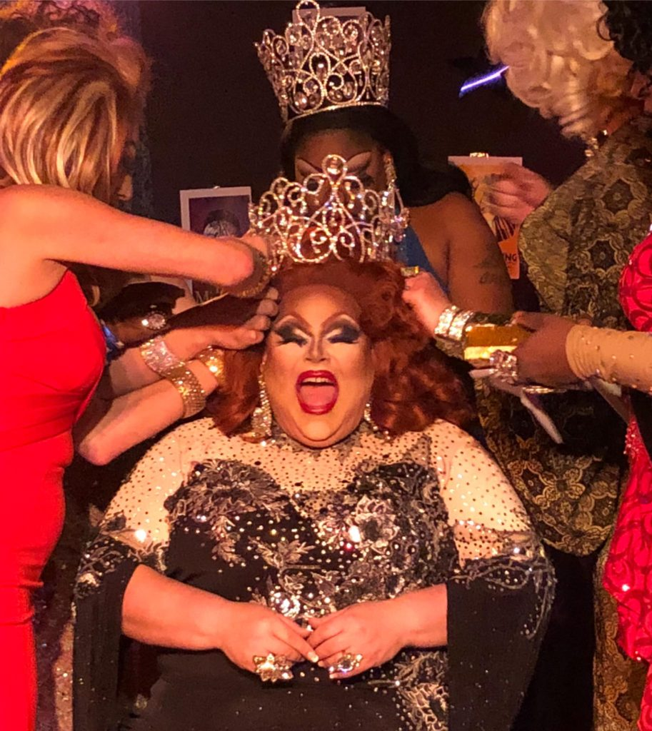 Buff Faye being crowned Miss Hide-A-Way at Large 2018 at the Hideaway in Rock Hill, South Carolina on the night of March 3rd, 2018.