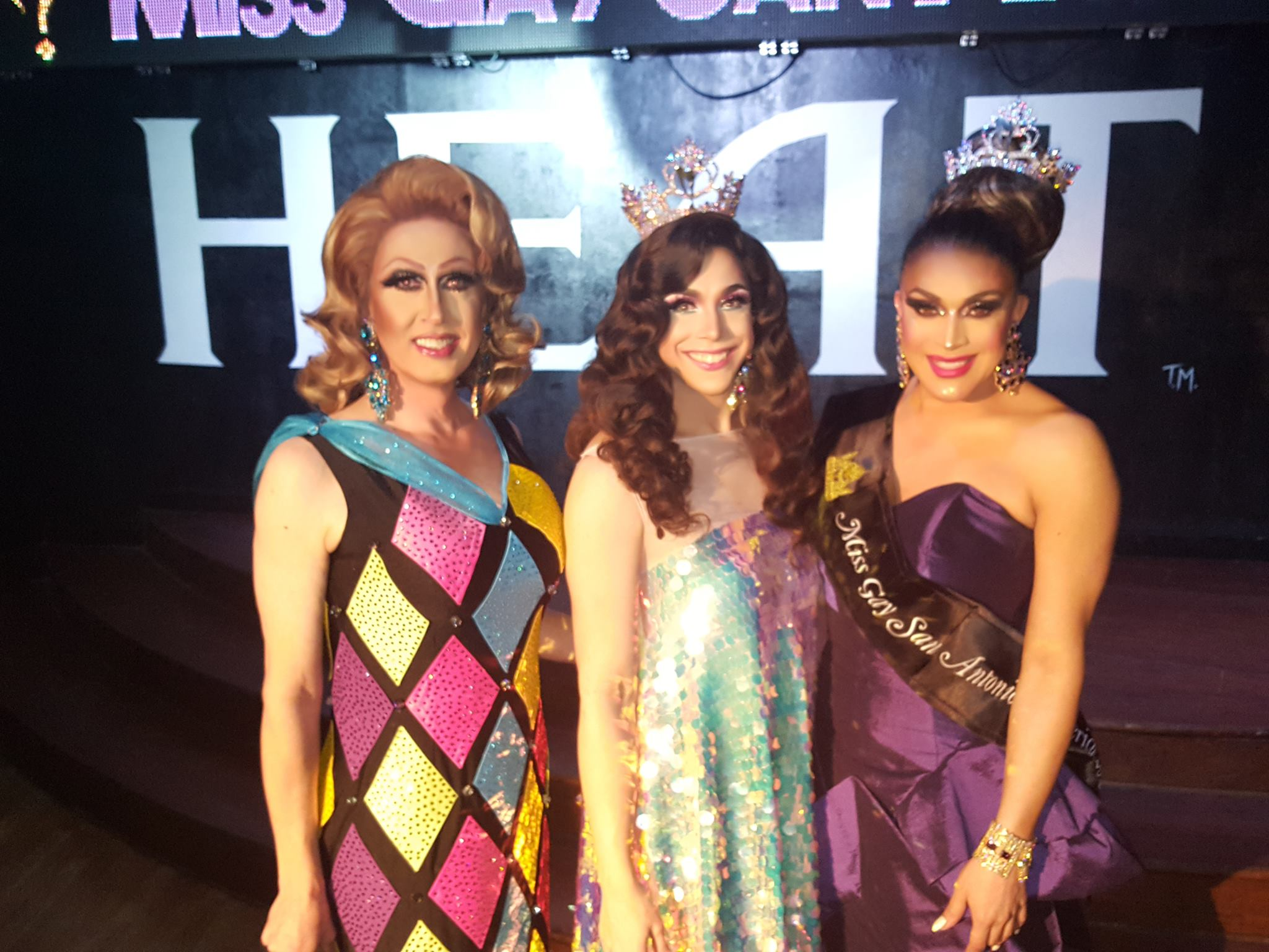 Stephanie Fishe (1st Alternate to Miss Gay San Antonio America 2018), Violet S'Arbleu (Miss Gay Texas America 2017) and Toni Raven Andrews (Miss Gay San Antonio America 2018) at the Heat in San Antonio on the night of March 13th, 2018 at the Mr. and Miss Gay San Antonio America pageant.