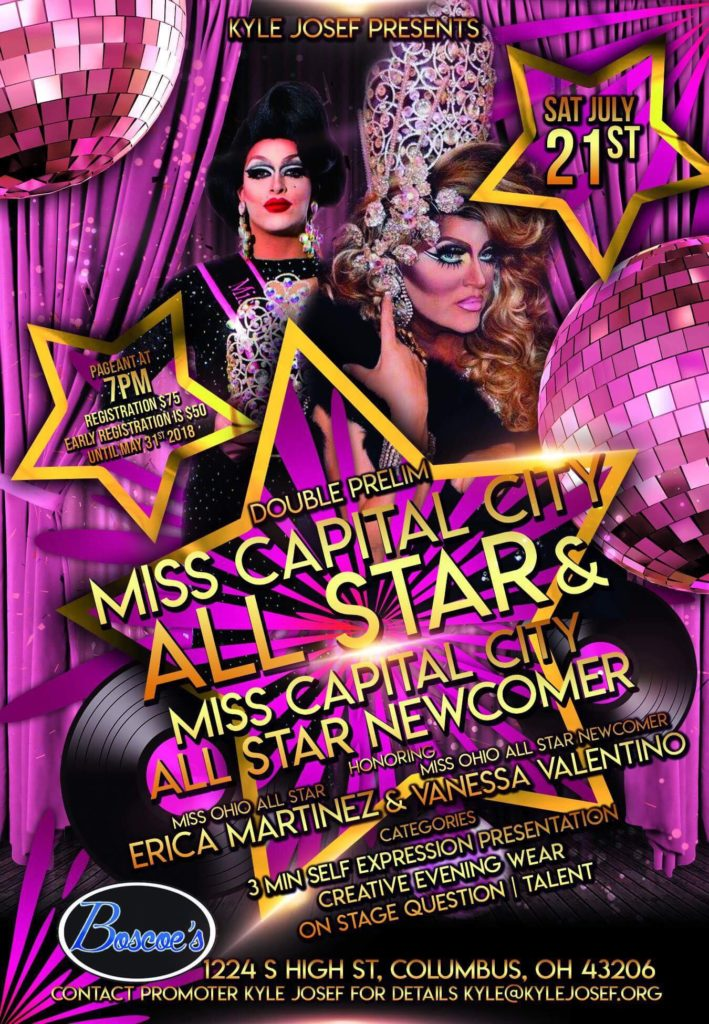 Show Ad | Miss Capital City All-Star and Miss Capital City All-Star Newcomer | Boscoe's (Columbus, Ohio) | 7/21/2018