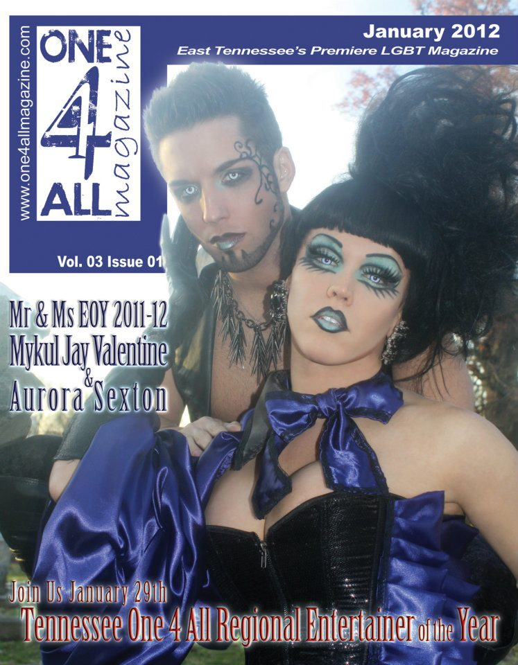 Mykul Jay Valentine and Aurora Sexton on the cover of One 4 All Magazine out of East Tennessee from January 2012.
