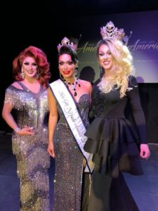 Savannah Stevens (1st Alternate to Miss Gay Nevada America 2018), Sofia Anderson (Miss Gay Nevada America 2018) with Deva Station (Miss Gay America 2018) at the inaugural Miss Gay Nevada America pageant on Friday, April 27th, 2018 held at the Space LV on 3460 Cavaretta Court in Las Vegas, Nevada.