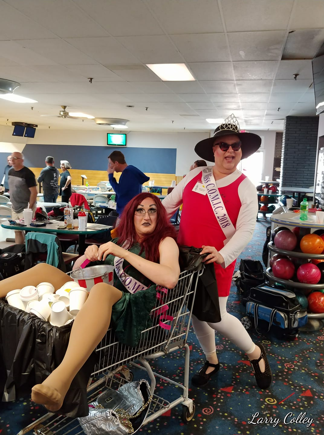 Mary St. Jaymes and Stella selling COMIC Cups at their annual bowling tournament in April of 2018.