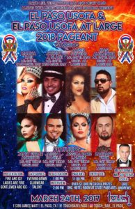 Show Ad   El Paso USofA and El Paso USofA at Large Pageants   Touch Bar (El Paso, Texas)   3/24/2018 [NOTE: Poster printed with incorrect year]