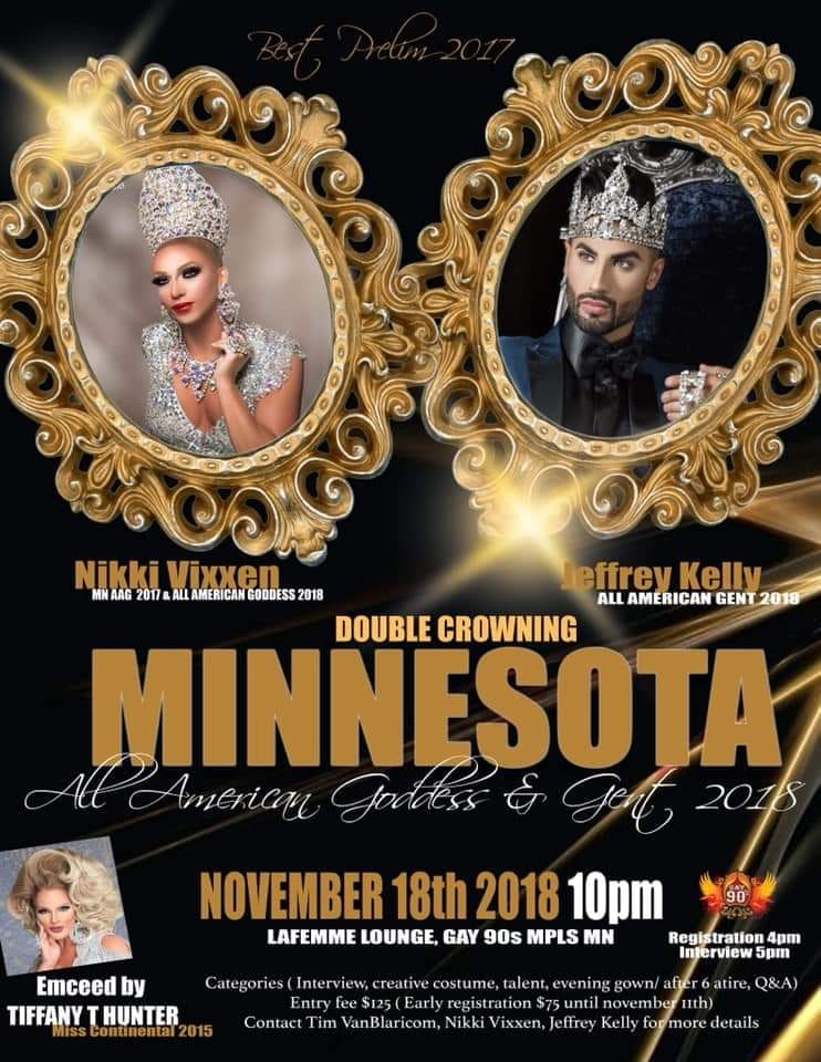 Ad | Minnesota All American Gent and All American Goddess | Gay 90's (Minneapolis, Minnesota) | 11/18/2018