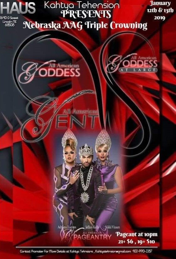 Ad | Nebraska All American Gent, Goddess and Goddess at Large | Das Haus (Lincoln, Nebraska) | 1/12-1/13/2019