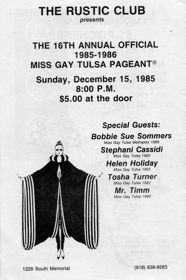 Miss Gay Tulsa Pageant | Rustic Club (Tulsa, Oklahoma) | 12/15/1985
