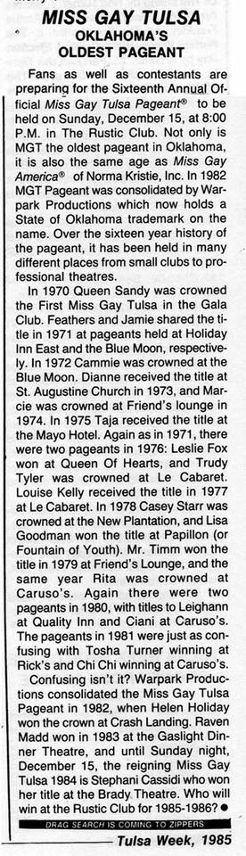 Miss Gay Tulsa History (Tulsa Week, 1985)