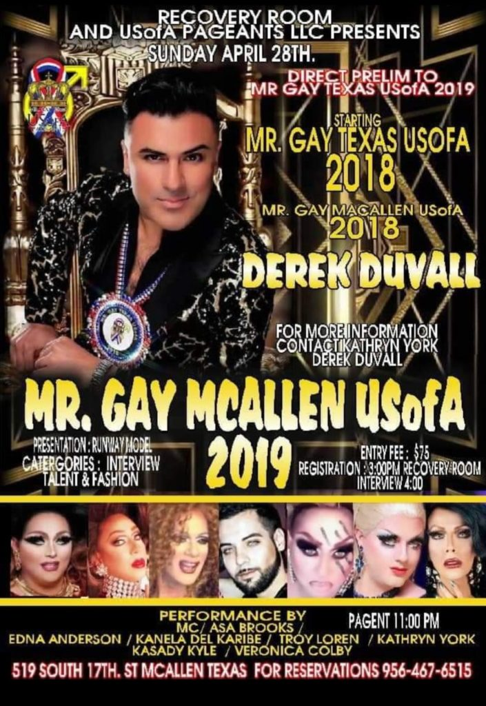 Show Ad | Mr. Gay McAllen USofA | Recovery Room (McAllen, Texas) | 4/28/2019
