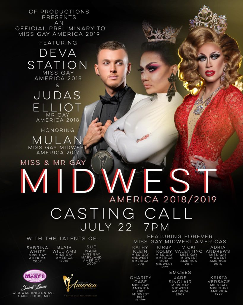 Ad | Miss and Mr. Gay Midwest America | Hamburger Mary's (St. Louis, Missouri) | 7/22/2018