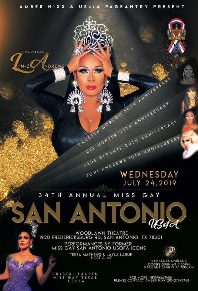 Ad | Miss Gay San Antonio USofA | Woodlawn Theatre (San Antonio, Texas) | 7/24/2019