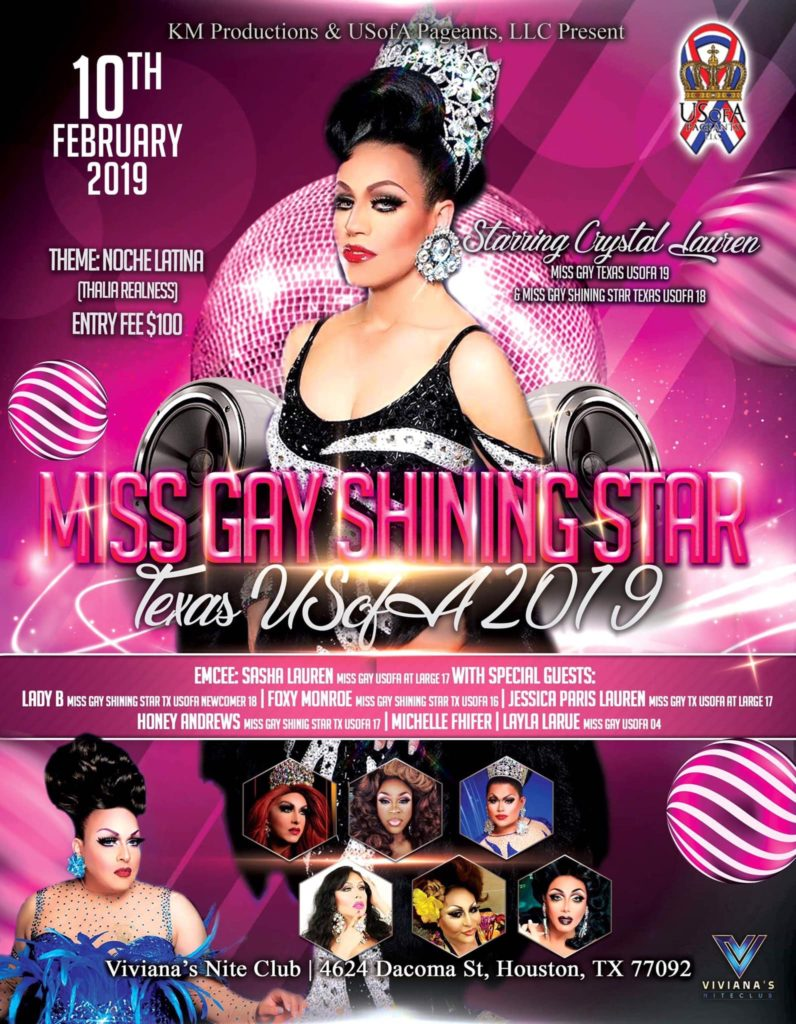 Ad | Miss Gay Shining Star USofA | Viviana's Nite Club (Houston, Texas) | 2/10/2019