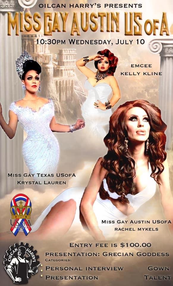 Ad | Miss Gay Austin USofA | Oilcan Harry's (Austin, Texas) | 7/10/2019