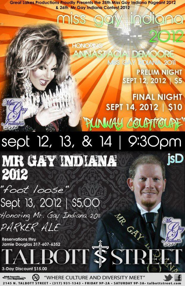 Ad | Miss and Mr. Gay Indiana | Talbott Street (Indianapolis, Indiana) | 9/12-9/14/2012