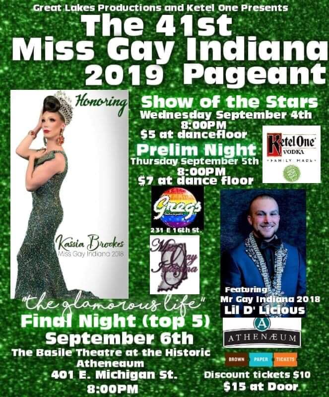 Ad | Miss Gay Indiana | Gregs and the Basile Theatre at the Historic Atheneaum (Indianapolis, Indiana) | 9/4-9/6/2018