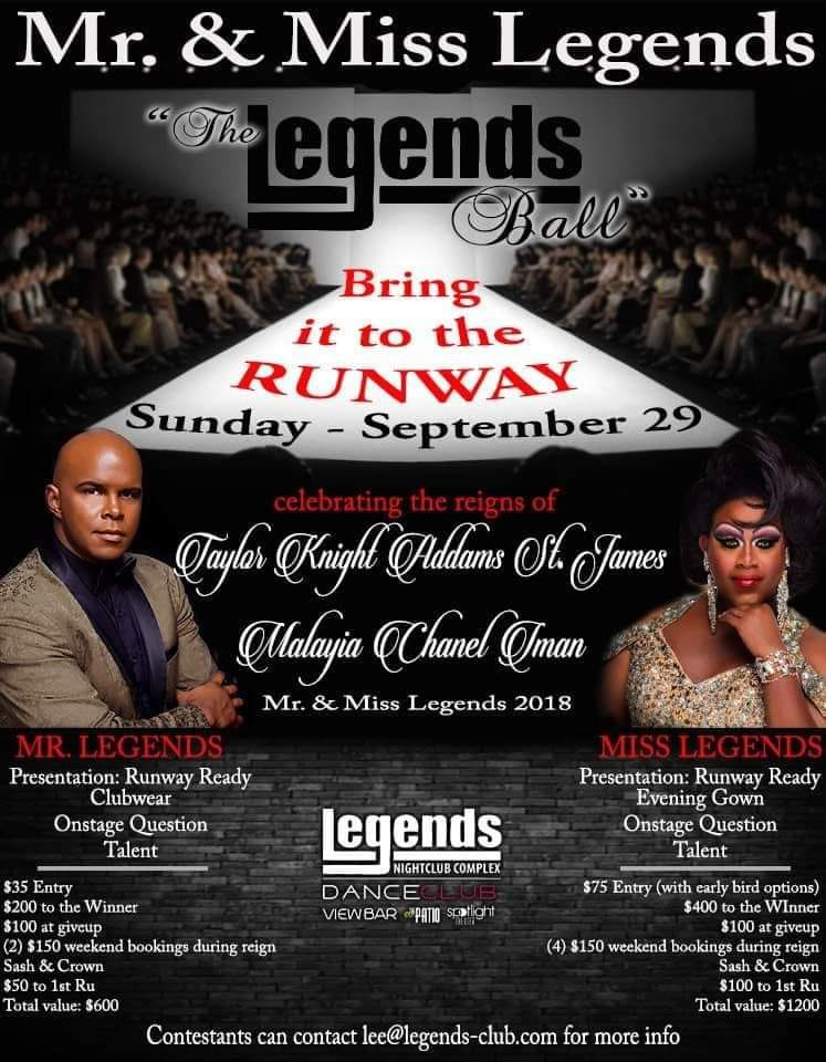 Ad | Mr. and Miss Legends | Legends Nightclub Complex (Raleigh, North Carolina) | 9/29/2019