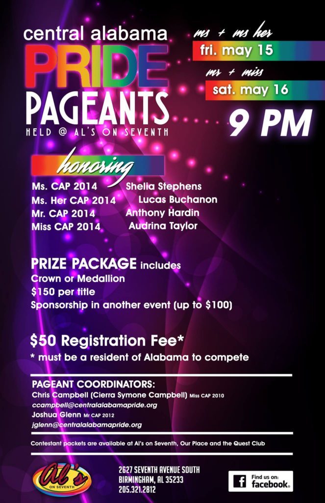 Ad | Central Alabama Pride Pageants | Al's on Seventh (Birmingham, Alabama) | 5/15-5/16/2015