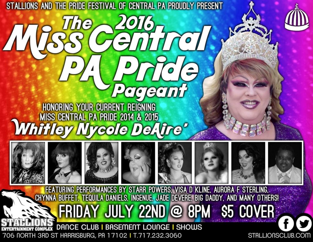 Ad | Miss Central Pennsylvania Pride | Stallions Entertainment Complex (Harrisburg, Pennsylvania) | 7/22/2016