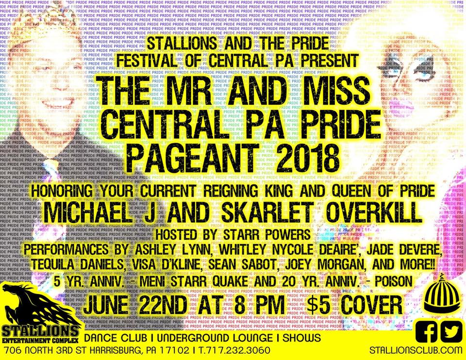 Ad | Mr. and Miss Central Pennsylvania Pride | Stallions Entertainment Complex (Harrisburg, Pennsylvania) | 6/22/2018