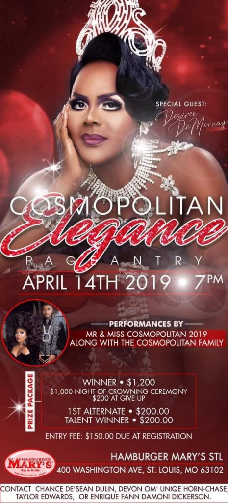 Ad | Miss Cosmopolitan Elegance | Hamburger Mary's (St. Louis, Missouri) | 4/14/2019