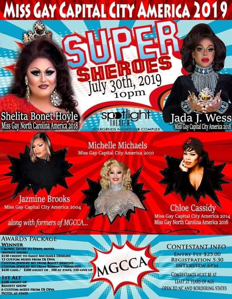 Ad | Miss Gay Capital City America | Legends Nightclub Complex (Raleigh, North Carolina) | 7/30/2019