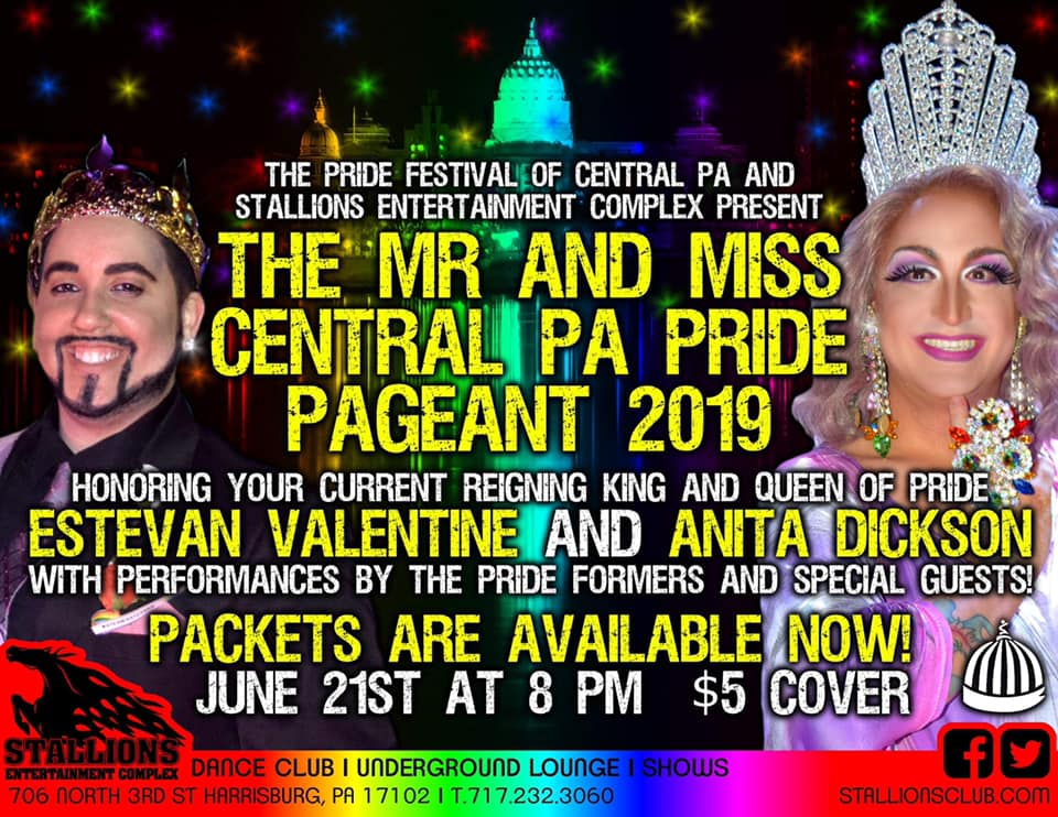 Ad | Mr. and Miss Central Pennsylvania Pride | Stallions Entertainment Complex (Harrisburg, Pennsylvania) | 6/21/2019