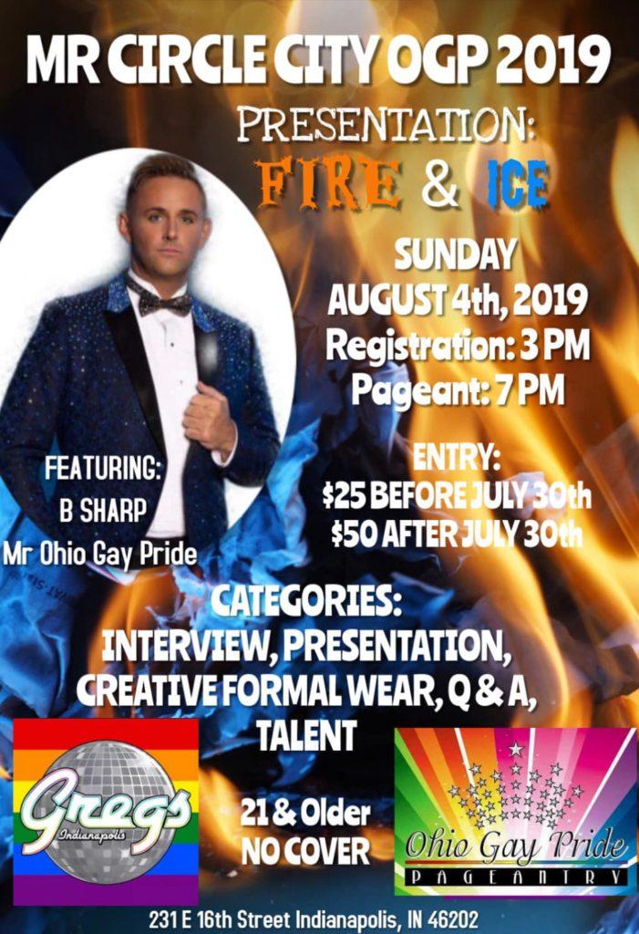 Ad | Mr. Circle City Gay Pride | Gregs (Indianapolis, Indiana) | 8/4/2019