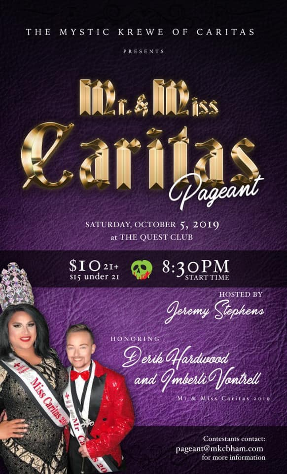 Ad | Mr. and Miss Caritas | Quest Club (Birmingham, Alabama) | 10/5/2019