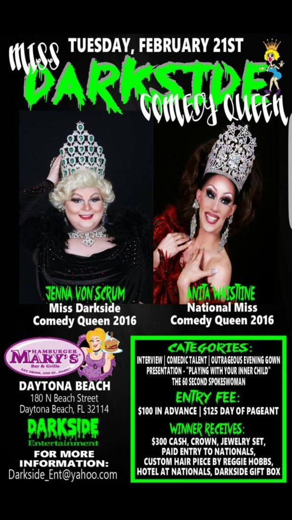 Ad | Miss Darkside Comedy Queen | Hamburger Mary's (Daytona Beach, Florida) | 2/21/2017