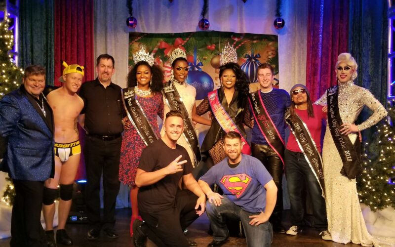 Back: Lucky, Tyler Devereaux, Marc Offenburger, Pandora Foxx, Jada Fenix-Lorez, Mohoganay Halsten Soule, Dane Decardeza, Devon Ayers and Soy Queen. Front: B Sharp and Andrew Carmichael | Benefit for Tim Stone Family | MJ's on Jefferson (Dayton, Ohio) | 11/24/2018