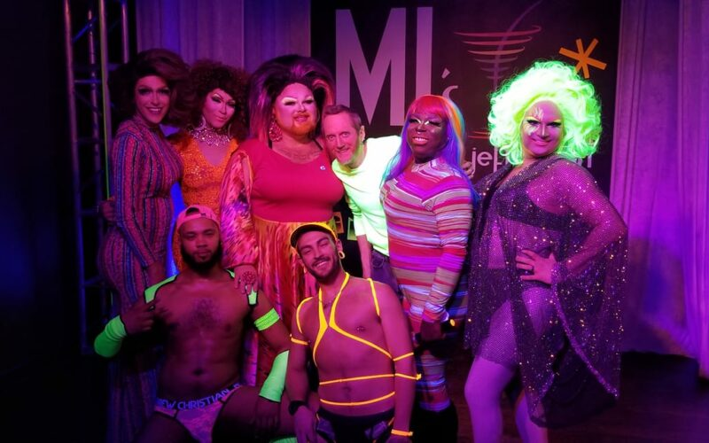 Front: Isaac Ismael and Zeus / Back: Jennifer Lynn, Eva Alicia Jane, Holly Berry, DJ Hill, Cherry Poppins and Tova Uravitch | MJ's on Jefferson (Dayton, Ohio) | 1/25/2020
