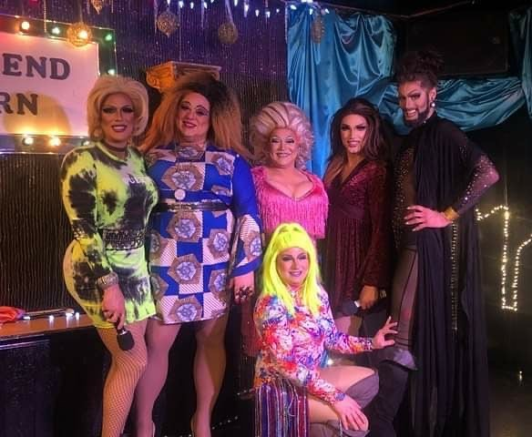 Front: Trixie Moore Fabian | Back: Valerie Taylor, Shelita Buffet, Paris Mann, Mimi Sharp and Momo Pleasures. | Southbend Tavern (Columbus, Ohio) | 1/24/2020