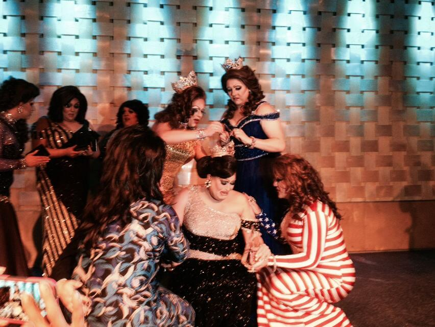 Alexis Stevens being crowned by Jessica Jade, Britney Blaire and Hellin Bedd.  In the background are Alli Katt, Shelby Bottoms and National Holiday. | Miss Gay Ohio America | Axis Nightclub (Columbus, Ohio) | 7/13/2014