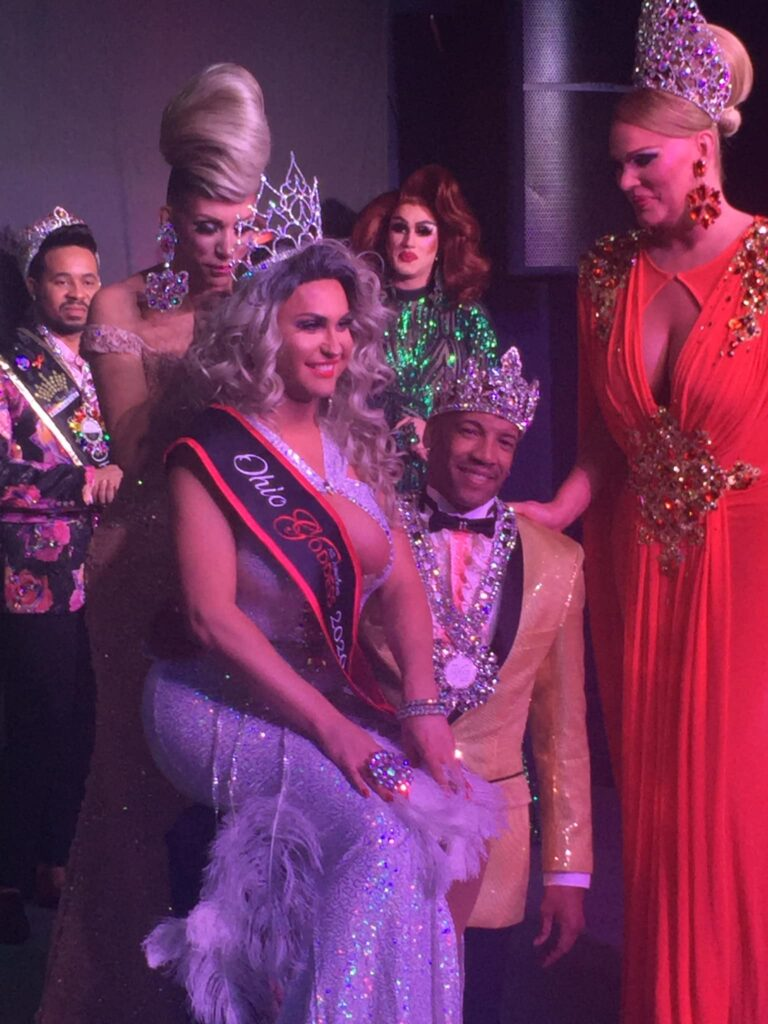 Brandonna Dupri LaReese being crowned by Nikki Vixxen , Antonio Edwards and Tiffany T. Hunter.  Monroe DeMoore and Soy Queen are in the background. | Ohio All American Gent and Goddess | A.W.O.L. (Columbus, Ohio) } 1/31/2020