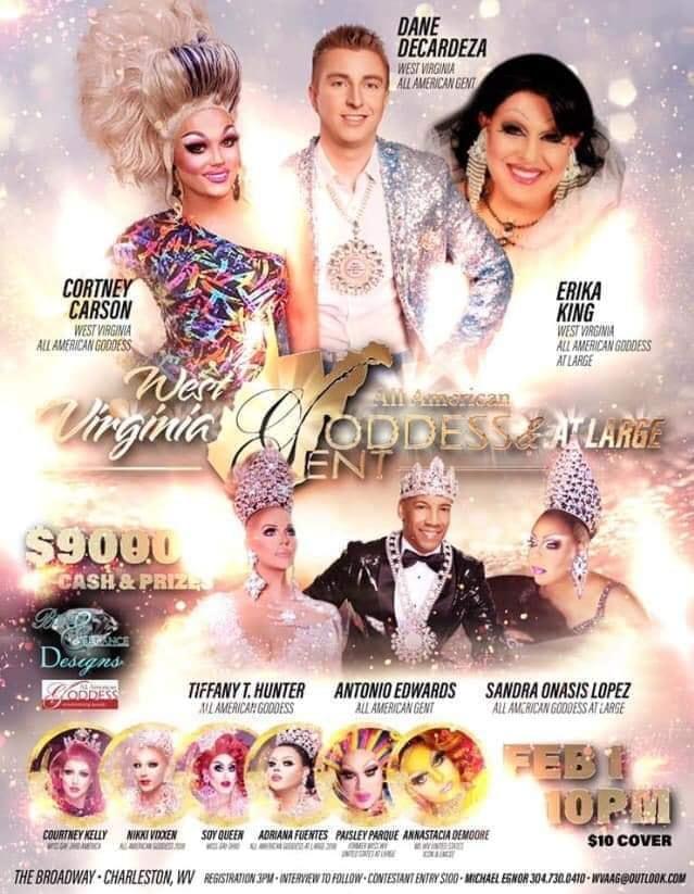 Ad | West Virginia All American Goddess, West Virginia All American Goddess at Large and West Virginia All American Gent | Broadway (Charleston, West Virginia) | 2/1/2020