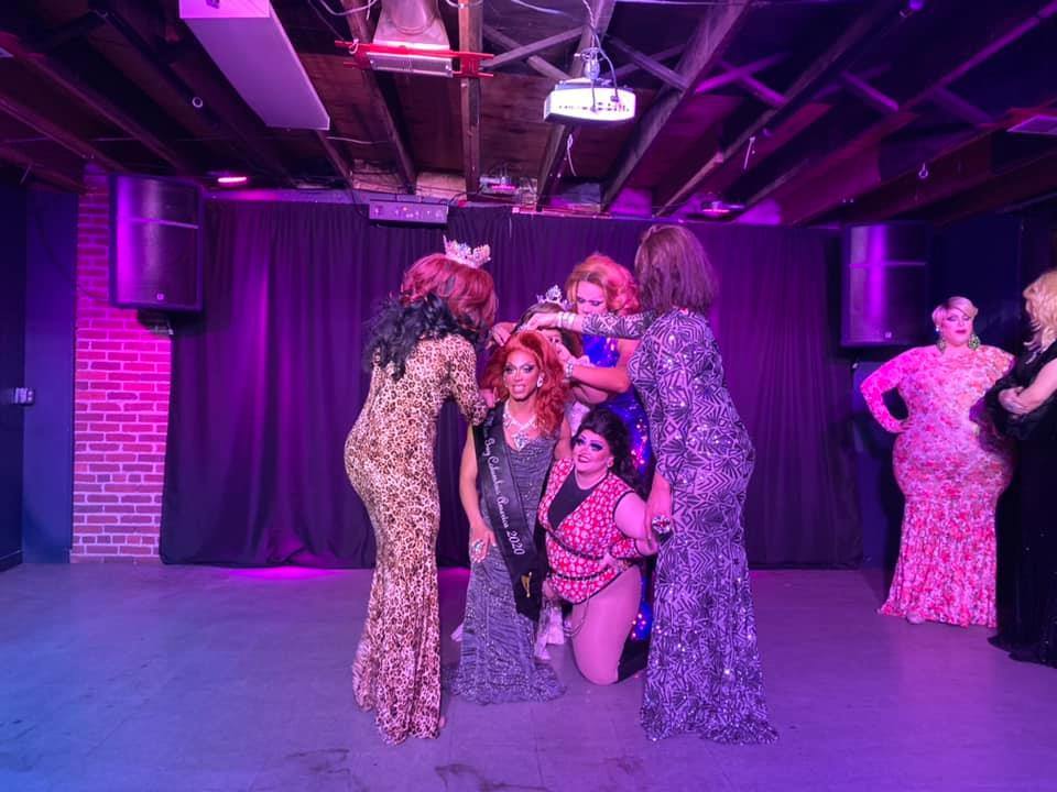 Yasmine Kelly, Hiliana Perez, Kiley Dash-West and Ava Aurora Foxx. Front: Yasmine Kelly and Olivia Jane | Miss Gay Columbus America | A.W.O.L. (Columbus, Ohio) | 2/7/2020