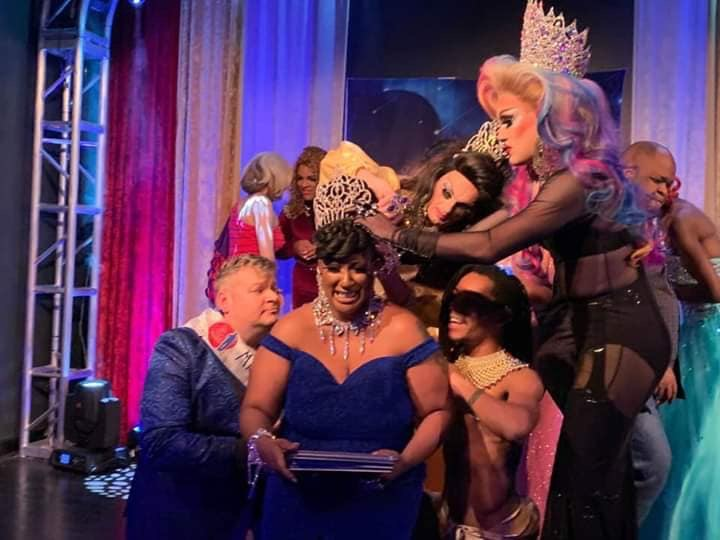 Crowning of Gaia Naturi.  Front: Lucky, Gaia Naturi and Diablø D. Meanor. Back: Sheridan Steele and Soy Queen | Miss Gay Miami Valley Ohio | MJ's on Jefferson (Dayton, Ohio) | 11/2/2019