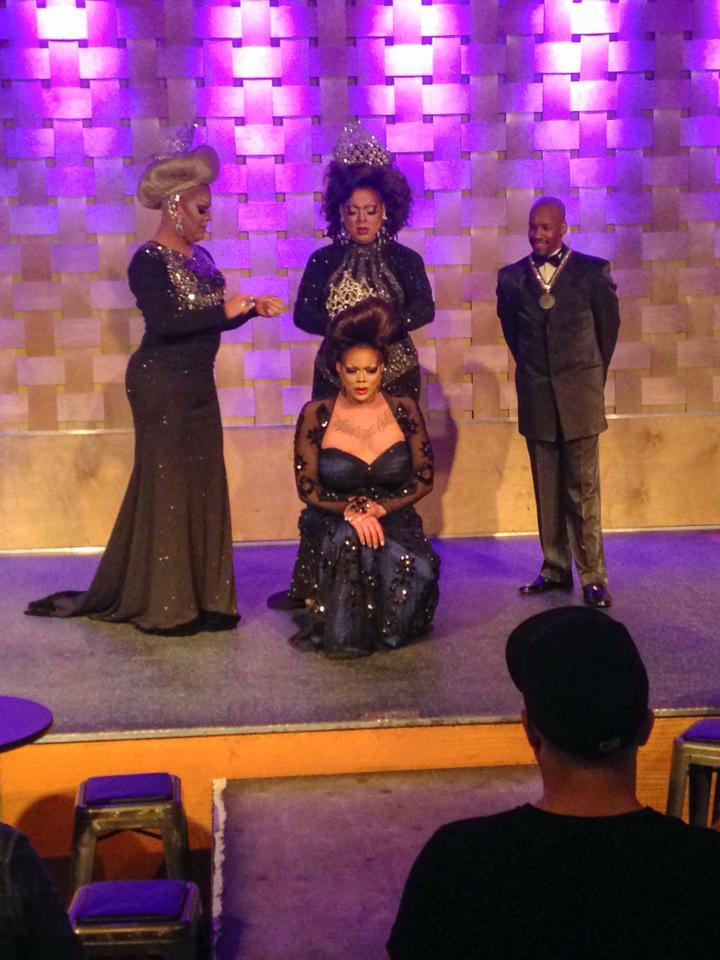 Ginger Ale being crowned by Brooklyn Starr.  Back left is Chelsea Nicole Parker and back right is Antonio Edwards.  | Heart of Ohio All American Goddess, Heart of Ohio All American Goddess at Large and Heart of Ohio All American Gent | Axis Nightclub (Columbus, Ohio) | 8/10/2014