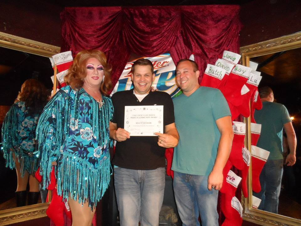 Shaun Whybark is presented the 2013 Pride in Community Award by Hellin Bedd (left) and Brian Menegay (right) as part of Ohio Gay Pride Pageantry | Cavan Irish Pub (Columbus, Ohio) | December 2013